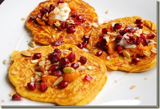Pumpkin Pancakes topped with yogurt