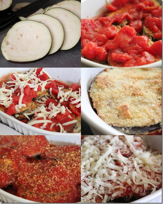 Eggplant parmesan collage