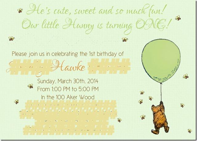 Lea's Pooh Invite